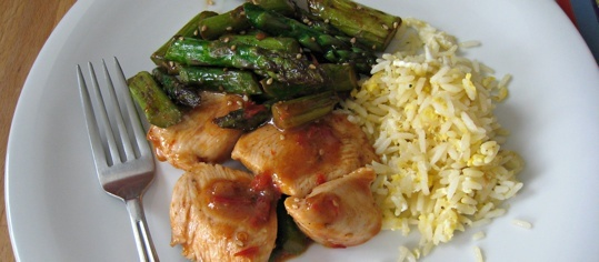 Sweet-Chili-Poulet mit Spargel